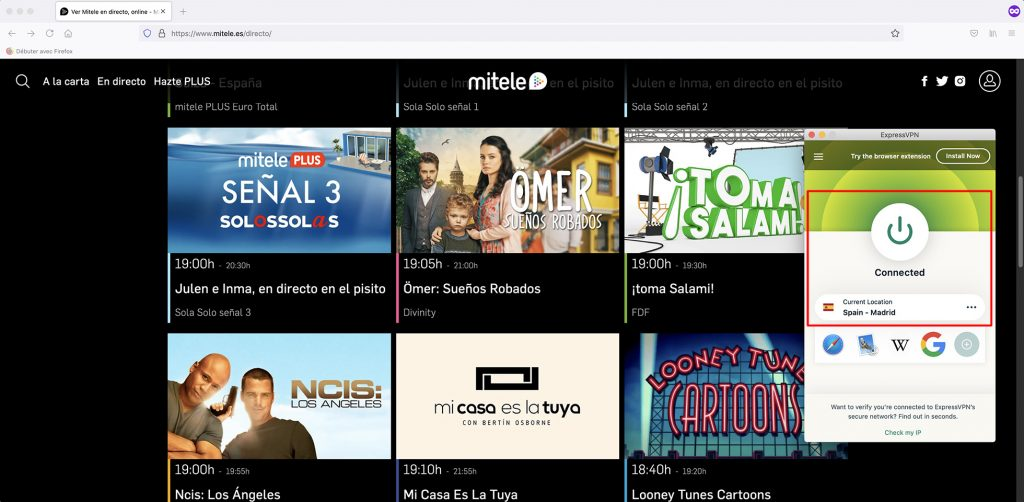 Mitele Channels and videos abroad
