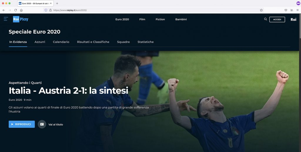 Watch RaiPlay Sports outside Italy