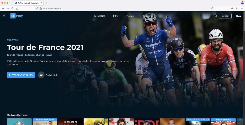 RaiPlay home page